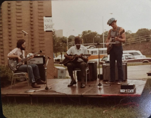 Frank Edwards, Billy Troiani & Robert Ross at the Grassroots Festival in Atlanta GA in 1977 or 1978. We were on tour with Eddie Kirkland.