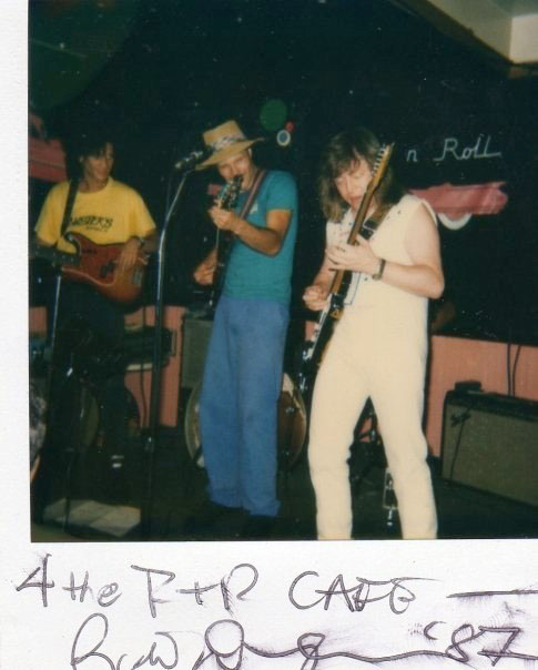 Ric Derringer, Robert Ross & Charlie Torres at the Rock 'n' Roll Cafe in 1987. George Morales unseen.